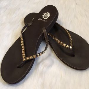 Yellow Box Brown and Gold Spike Sandal Flip Flop